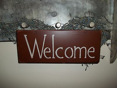 Wood Sign Out Door Porch Sign WELCOME Prim Country Rustic Wall Home Decor Sign