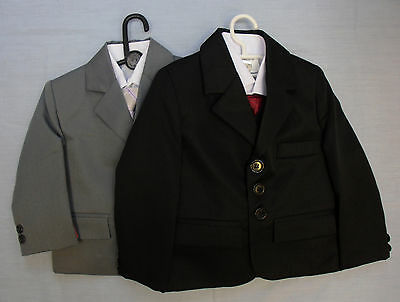 Baby Babies Childrens Grey Black 5 Five Piece Suit Christening Page Boys Formal