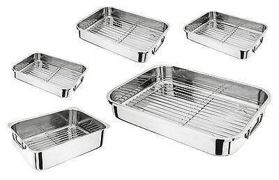 Judge Stainless Steel Chicken Turkey Beef Roasting Tray Pan Tin With Rack