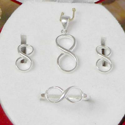 Sterling Silver .925 Infinity Set - Pendant, Ring, Earrings. All Ring Sizes