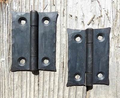 "2 Handmade 2"" Butt Door Wrought Iron Hinges Antique Cabinet Cupboard Box Decor"