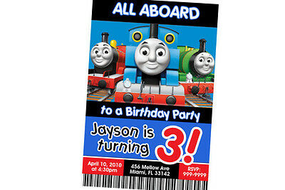 Thomas the Tank Engine Birthday Invitation 24hr Service UPRINT 4x6 or 5x7