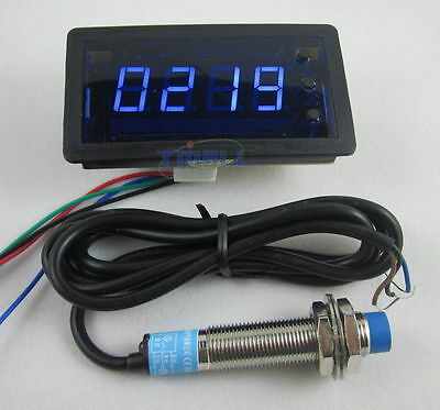 4Digit Blue LED Counter Meter with Relay Output Proximity Switch Sensor NPN 12V