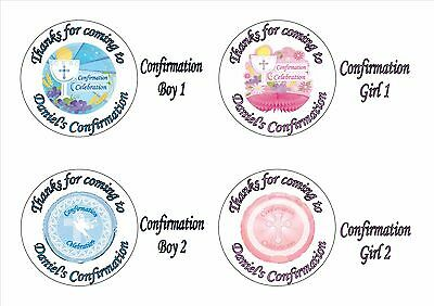 24 Personalised Round Confirmation Chocolate Coin Sticker Label Party Bag Favour