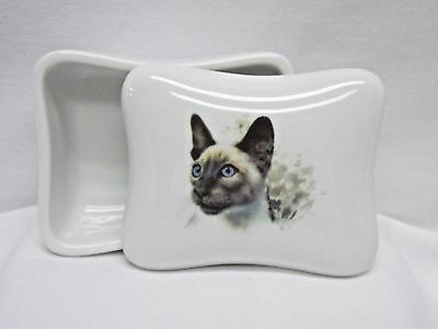 Siamese Cat Blue Eyes Dresser or Trinket Box Porcelain Fired Head Decal on Top