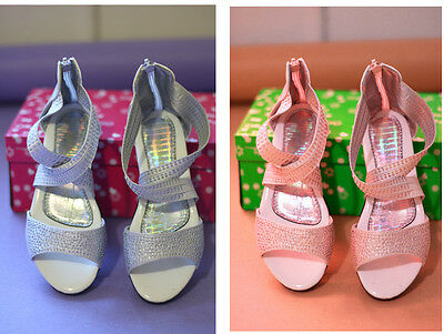 Girl's Shoes Formal Dance Flower Girl Communion Pink/Silver Sizes4/5/6/7/8/9BNWT