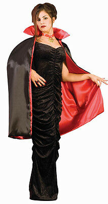 "45"" Deluxe Reversible Cape Vampire Black Red Fabric Halloween Costume Accessory"