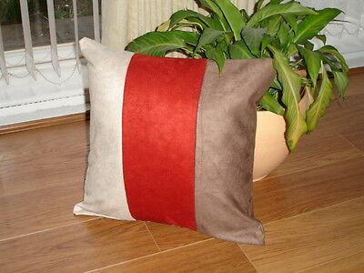 """5 X 18"""" Trendy Faux Suede Brown Terracotta Cream  Cushion Covers Not Faux Fur"""