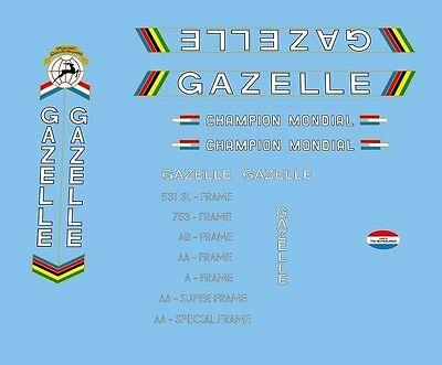 Gazelle Champion Mondial Bicycle Decals, Transfers, Stickers #02