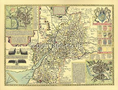 Gloucestershire Gloucester Framed Replica 1610 J.Speed  Old map 100% HAND COLOUR