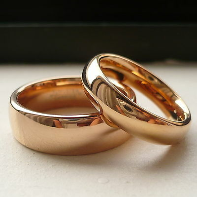TUNGSTEN CARBIDE ROSE GOLD PLATED HIS & HER WEDDING BAND RING SET 7&5mm SZ 5-15