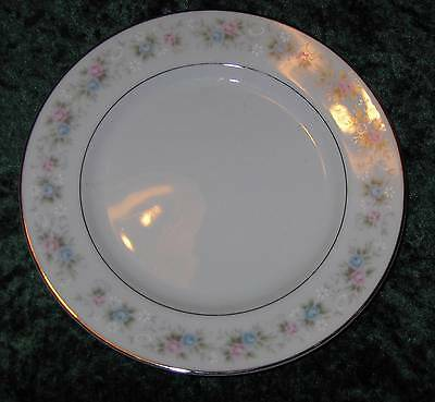 "Fine China Japan "" Rosemary"" 5555 Dessert / Bread Plate Pastels With Silver Trim"
