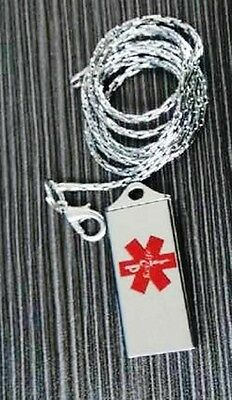 Medical Alert Device Key2Life Silver Tone Flat Pendent Neklace on Chain