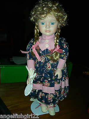 Porcelain Melissa Doll With Doll Stand Girl Mib Collectible