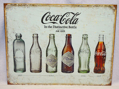 Coca-Cola Bottle Evolution Metal Sign, New!