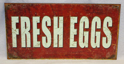 Fresh Eggs -  Country Primitive Metal Sign, New!