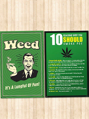 Weed 2 Individual Posters! Light up Dorm Decor Man Cave Fun Relax Recreation New