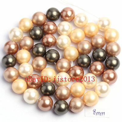 """8mm Pretty Multicolor Shell MOP Round Shape Gemstone Loose Beads Strand 15"""""""