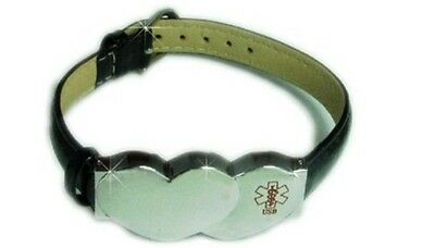 Medical Alert Device Key2Life Double Silver Tone Heart on Black Leather Band