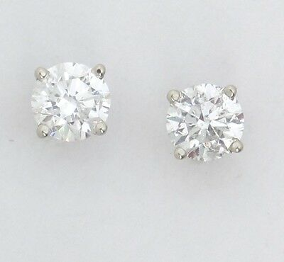 14k White Gold Round Diamond Solitaire Stud Earrings .60ct