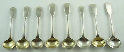 Lot of 8 Georgian & Victorian Sterling Silver Condiment Spoons c. 1816 to 1880