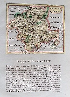 OLD ANTIQUE MAP WORCESTERSHIRE by SELLER / GROSE c1790's 18th CENTURY ENGRAVING