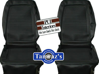 1964 1965 Barracuda Fastback Front & Rear Seat Covers Upholstery Black PUI New