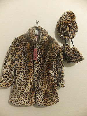 New Girl's Classy 3Pc Leopard Print Faux Fur Coat Fully Lined  2, 4, 6, 8 10 Yrs