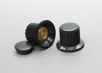 10 x Plastic Black Top Screw Tighten Control Knob 25mmDx18mmH for 6mm Shaft
