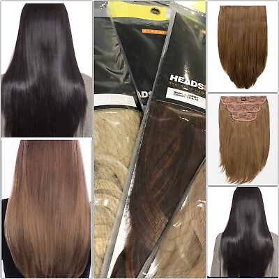Stranded 3 Piece Long Clipped Straight Hairpiece Extension Weft Various