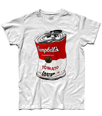 T-SHIRT Andy Warhol CAMPBELL'S ACCARTOCCIATO rosso pop art Moma New York Banksy