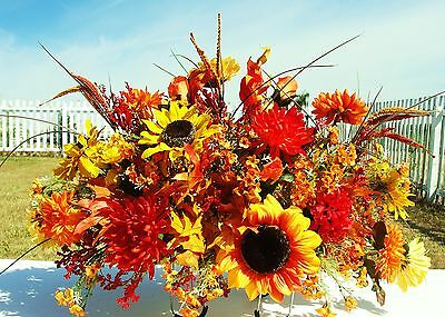 Deluxe Autumn Cemetery Grave Headstone Fall Flowers Yellow & Orange Two-Sided