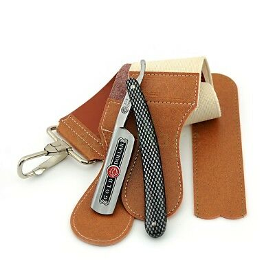 Straight Razor Cut Throat Shaving Knife+ Leather+ Canvas Strop Strap Sharpener