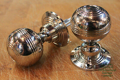6 x Pairs of Nickel Reeded Handles (DK4)