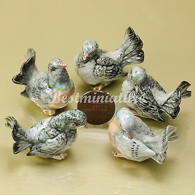 5 Gray Dove Pigeon Bird Ceramic Animal Figurine Statue Pottery Handmade
