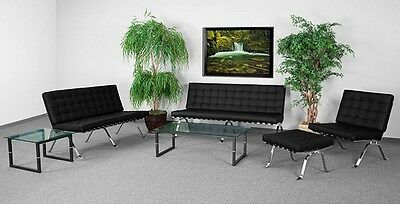 4pc Flash Series Modern Black Leather Reception Furniture Set - Guest Furniture