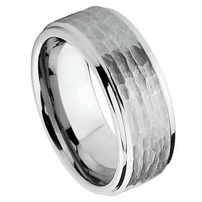 9mm TUNGSTEN CARBIDE MEN'S WEDDING BAND RING BRUSHED FINISH HAMMERED CUT SZ 6-15