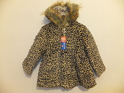 New Quality Girl's Hooded Leopard Print Faux Fur Coat Sizes 2, 4, 6, 8 Years