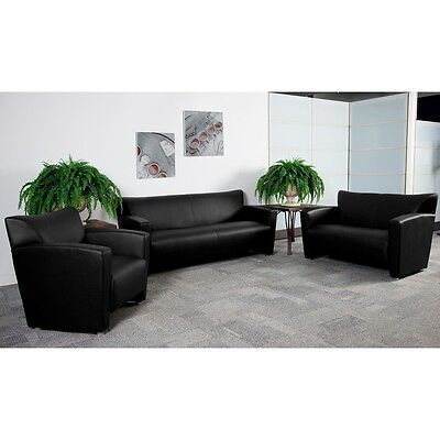 3pc Majesty Series Black Leather Reception Furniture Set - Guest Furniture Set