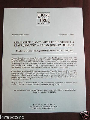 Ben Harper/pearl Jam—1995 Press Release