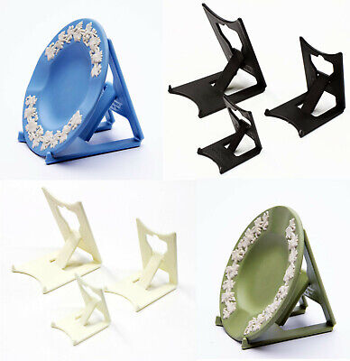 "Black or Ivory Cream Clip Display Stand x 2 : Plates,Tiles etc : 5-26cm, 2""- 10"""
