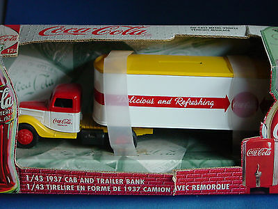 Coca-Cola Die-Cast Metal 1937 Cab & Trailer Bank
