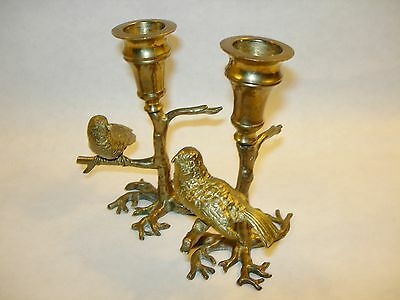 ~ Wonderful Pair Of Vintage Brass Bird Candleholders Charming Birds In Trees ~