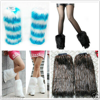 lady's Fluffy Fuzzy Faux Fur vogue Leg Warmers Muffs Boot Covers Halloween party