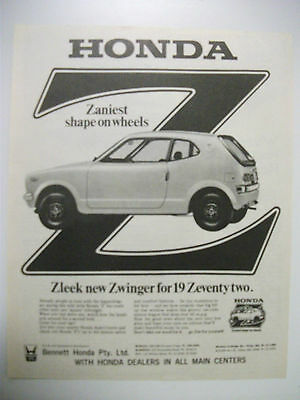 1972 Honda Z Fullpage Magazine Advertisement