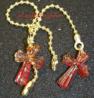 Art Glass Ceiling Fan Chain Light Switch Pull Red Gold Cross Small Pair