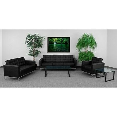 3pc Lacey Series Black Leather Reception Furniture Set -  Lounge Furniture Set