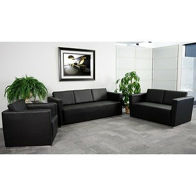 3pc Trinity Series Black Leather Reception Furniture Set - Lounge Furniture Set