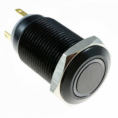Angel Eye Metal LED Latching 16mm Black Push Button Switch 12V SPST