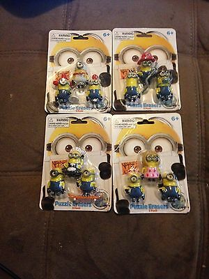 Despicable Me 2 RARE Puzzle Erasers 3 In Each Pack Set of 4 - NEW!